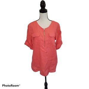 Company Ellen Tracy Linen Pink Tunic Blouse